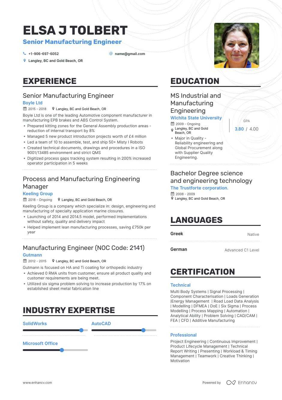 manufacturing engineer resume example for enhancv examples agent darwin now reviews mila Resume Manufacturing Resume Examples