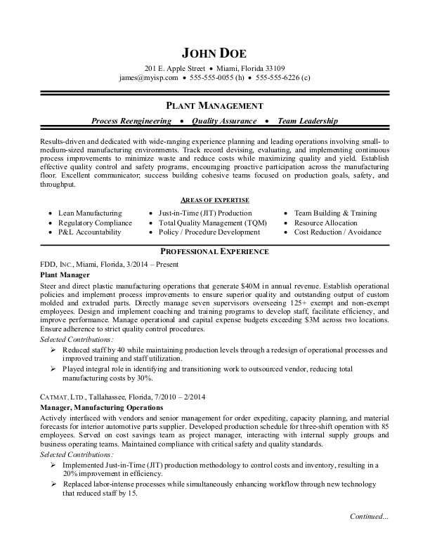manufacturing plant manager resume sample monster examples corporate receptionist of Resume Manufacturing Resume Examples