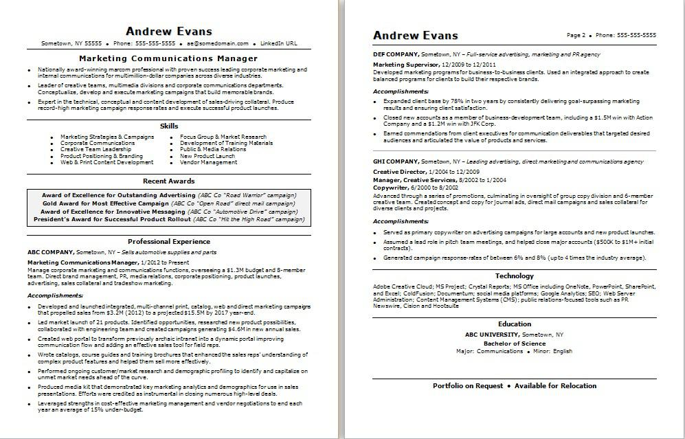 marketing communications resume monster campaign director marcom manager brewery format Resume Campaign Director Resume