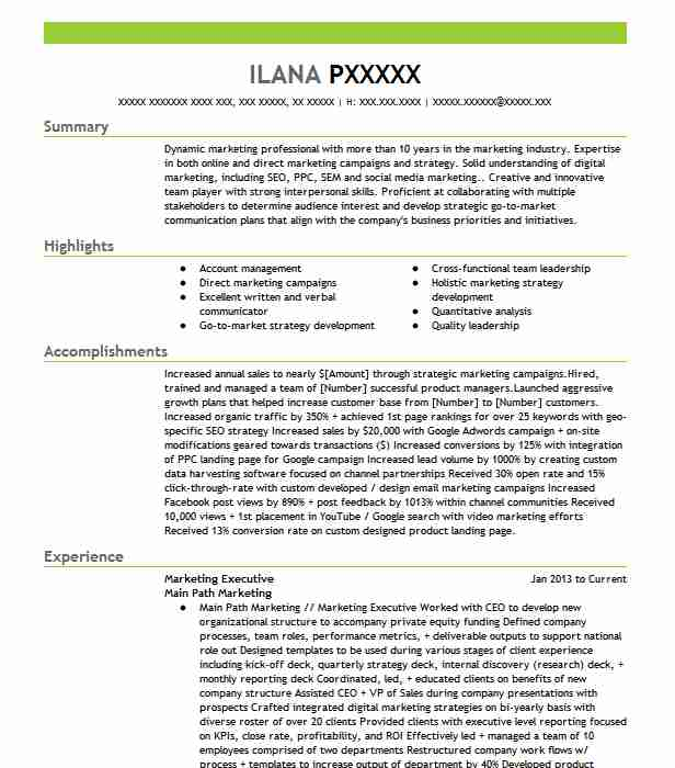 marketing executive resume example resumes livecareer supervisor responsibilities Resume Marketing Executive Resume
