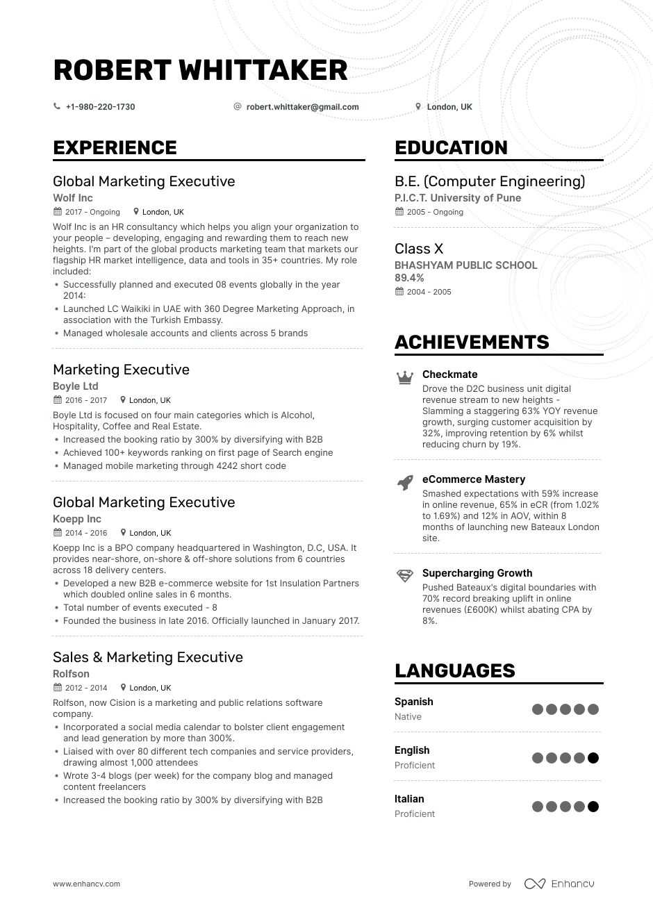 marketing executive resume examples pro tips featured enhancv the victor cheng consulting Resume Marketing Executive Resume
