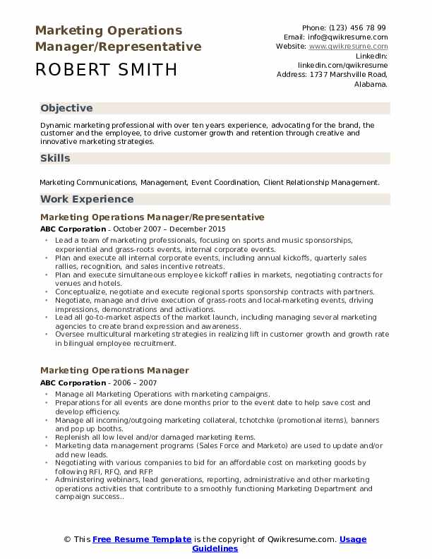 marketing operations manager resume samples qwikresume pdf sample business event Resume Operations Manager Resume