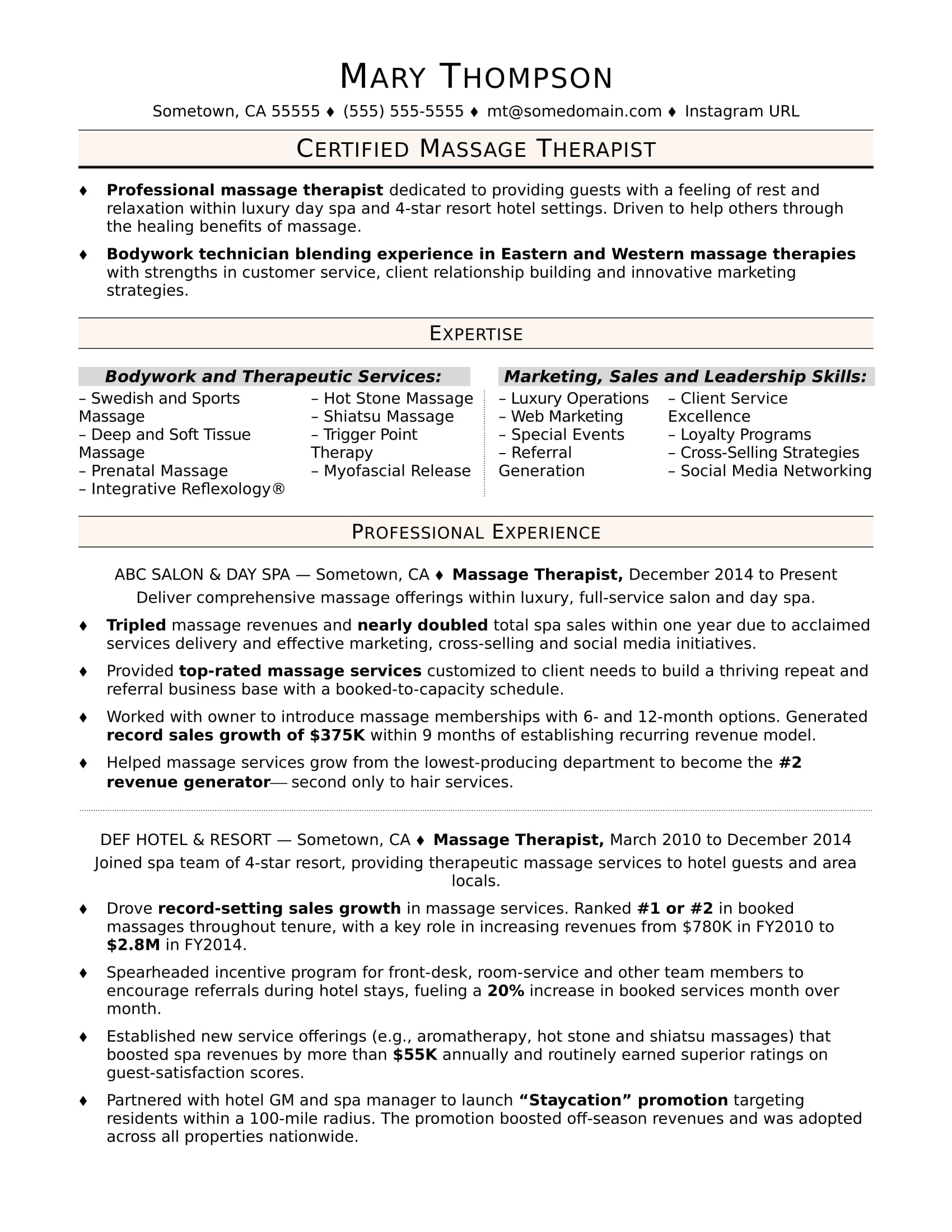 massage therapist resume sample monster examples format for new graduates phone number on Resume Massage Therapist Resume Examples