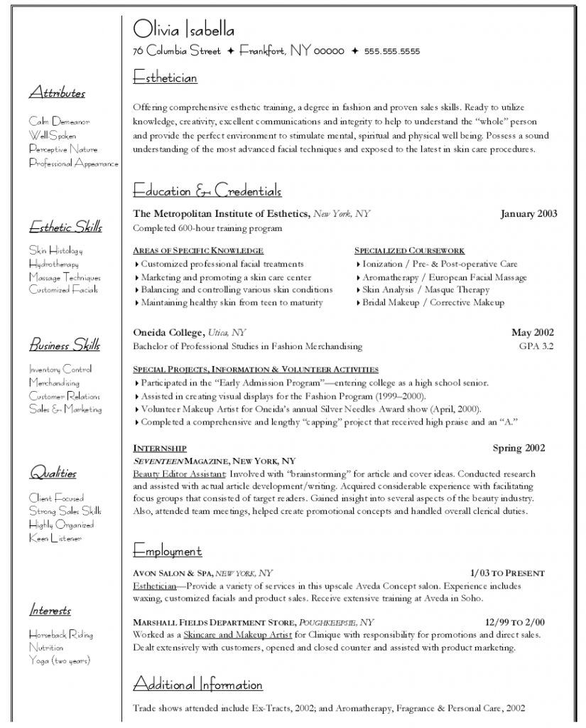 master esthetician cover letter january entry level resume sample joe judge walgreens Resume Entry Level Esthetician Resume Sample