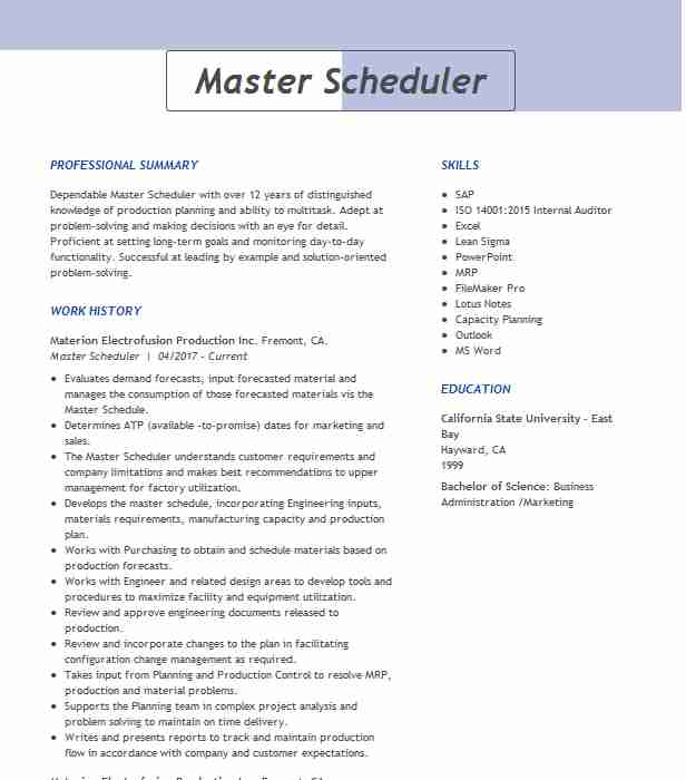 master scheduler resume example resumes livecareer sccm sample programming skills Resume Master Scheduler Resume