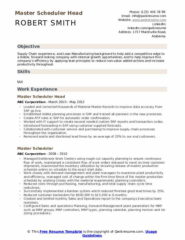 master scheduler resume samples qwikresume pdf recent graduate career objective examples Resume Master Scheduler Resume