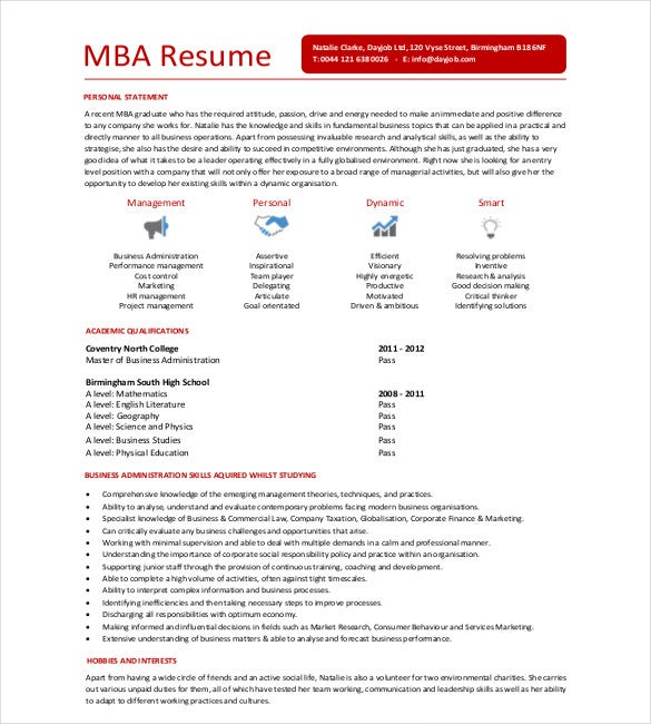 mba resume templates pdf free premium for interview candidate and bio examples high Resume Resume For Mba Interview