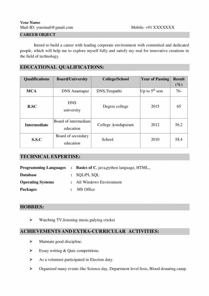 mca freshers resume sample in word format fresher samples projects now entry level Resume Mca Fresher Resume Format Download