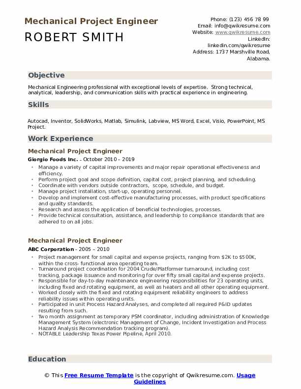mechanical project engineer resume samples qwikresume example pdf for programmer student Resume Project Engineer Resume Example