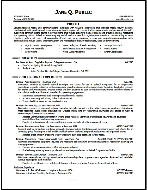 media and communications resume sample the clinic samples for entry level senior clinical Resume Resume Samples For Media