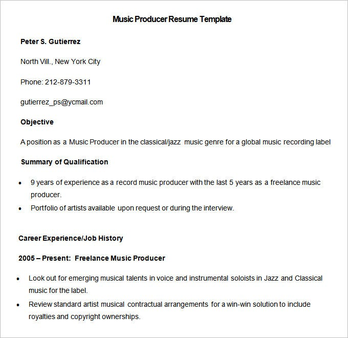 media resume template free samples examples format premium templates freelance music Resume Freelance Music Producer Resume