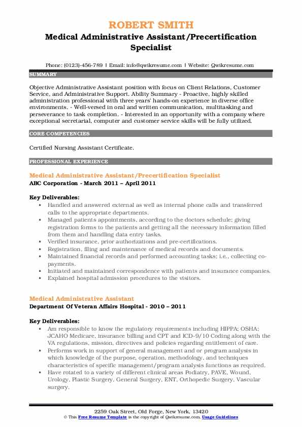 medical administrative assistant resume samples qwikresume examples pdf energy on canva Resume Medical Administrative Resume Examples