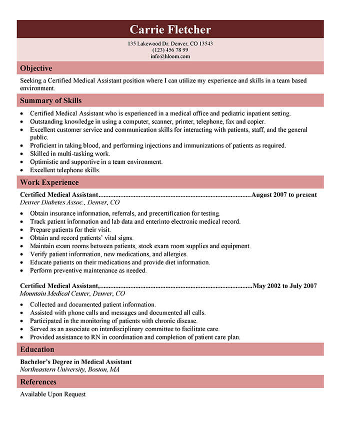medical assistant resume templates and job tips hloom generic certified call center Resume Medical Assistant Job Resume