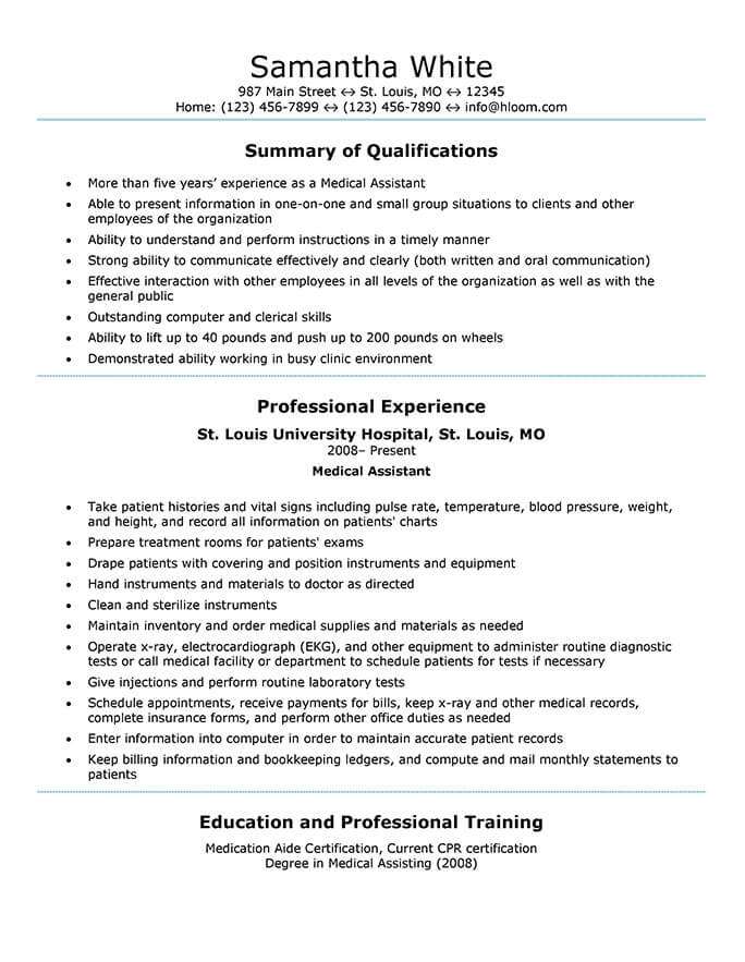 medical assistant resume templates and job tips hloom generic sample godaddy writing an Resume Medical Assistant Job Resume