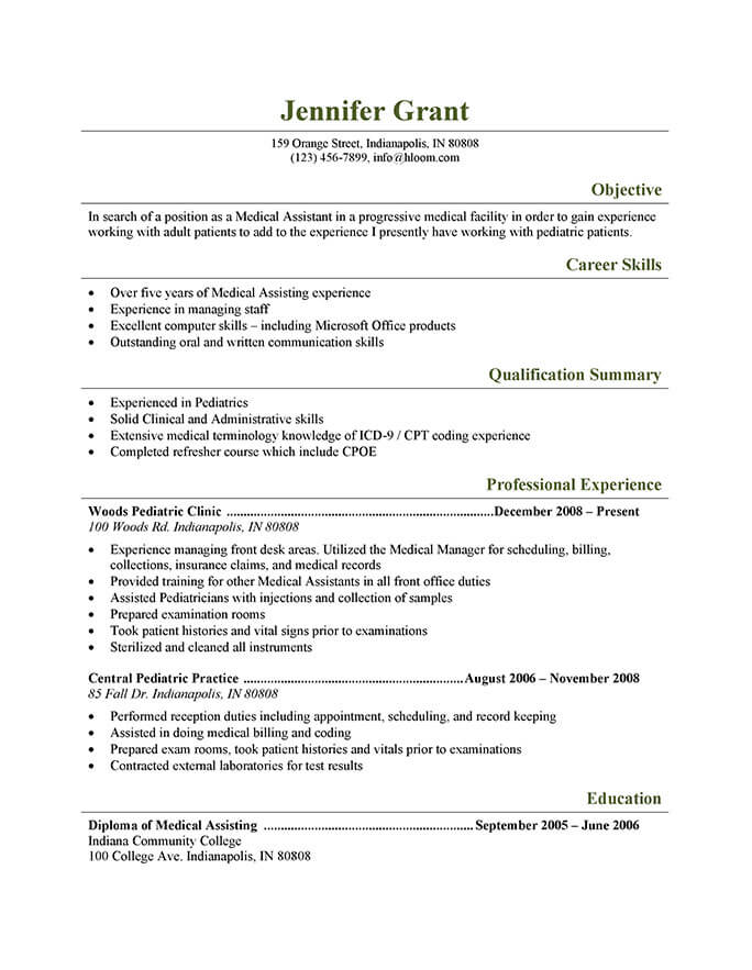 medical assistant resume templates and job tips hloom pediatric stock associate practice Resume Medical Assistant Job Resume
