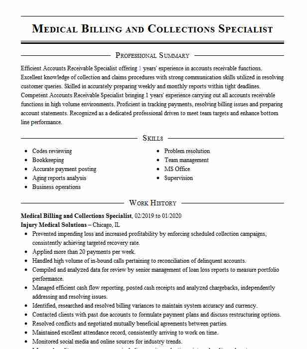 medical billing collections specialist resume example associates in urology and for Resume Medical Billing And Collections Specialist Resume