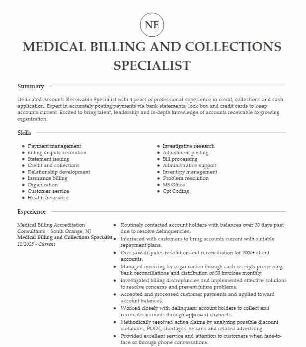 medical billing collections specialist resume example associates in urology and icons for Resume Medical Billing And Collections Specialist Resume
