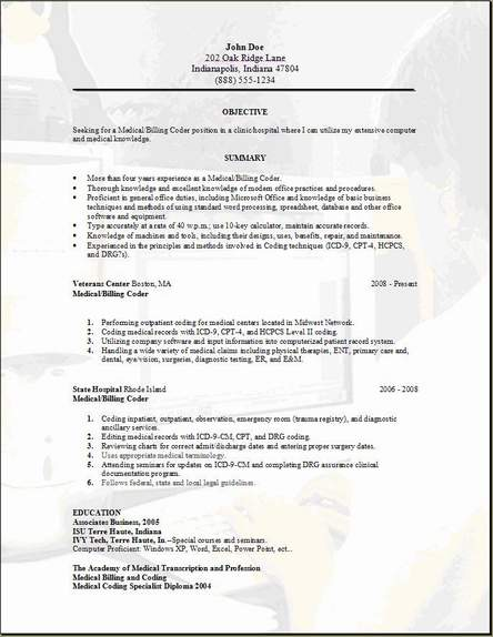 medical billing resume occupational examples samples free edit with word and collections Resume Medical Billing And Collections Specialist Resume