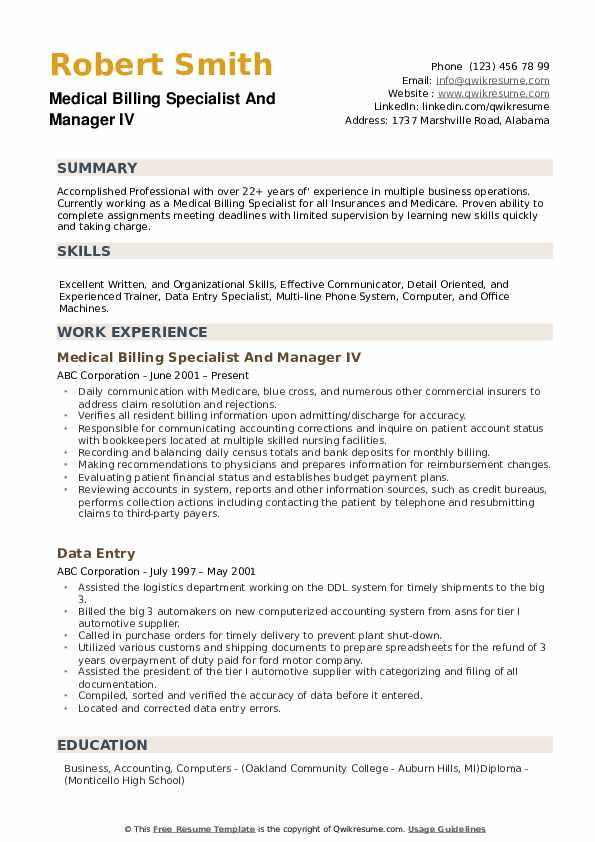 medical billing specialist resume samples qwikresume sample free pdf format for placement Resume Medical Billing Resume Sample Free
