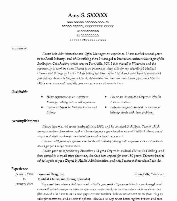 medical claims and billing specialist resume example livecareer examples sample for new Resume Medical Billing Resume Examples