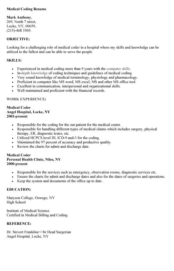 medical coding resume resumesdesign coder objective for construction manager operations Resume Objective For Medical Coding Resume