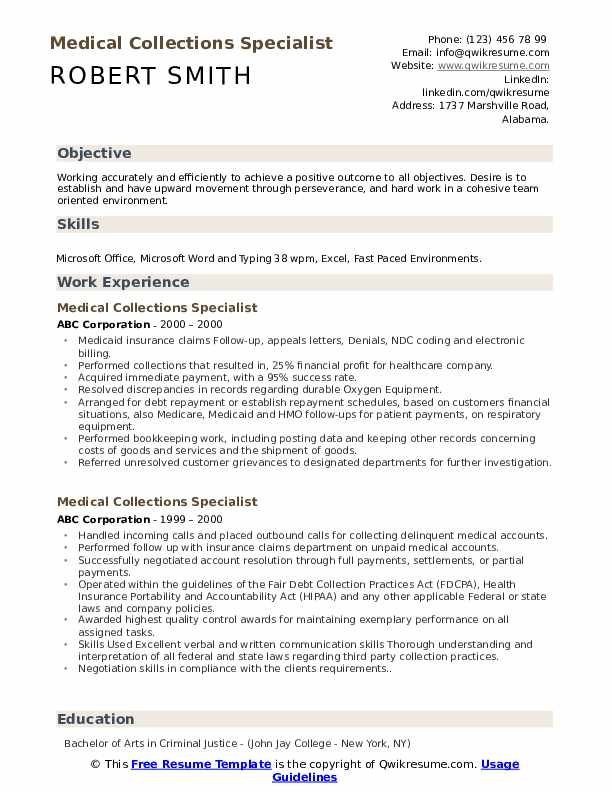 medical collections specialist resume samples qwikresume billing and pdf professional Resume Medical Billing And Collections Specialist Resume
