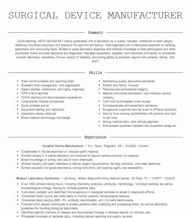 medical laboratory technician mlt resume example capital region center moberly clinical Resume Clinical Lab Technician Resume Sample