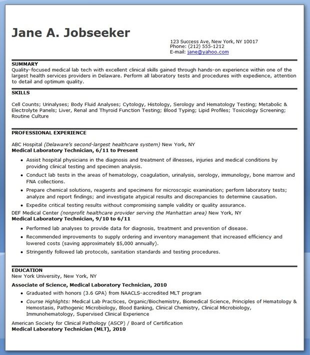 medical laboratory technician resume sample downloads for technologist summary examples Resume Sample Resume For Medical Technologist