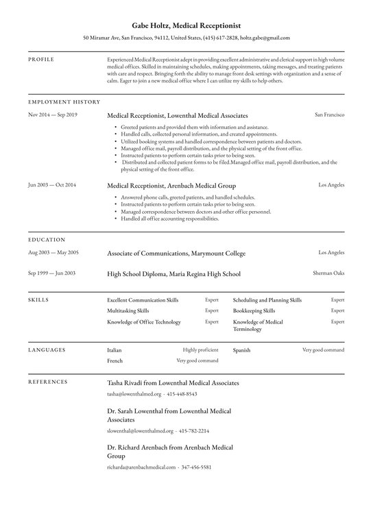 medical receptionist resume examples writing tips free guide io listing classes on layout Resume Listing Classes On Resume