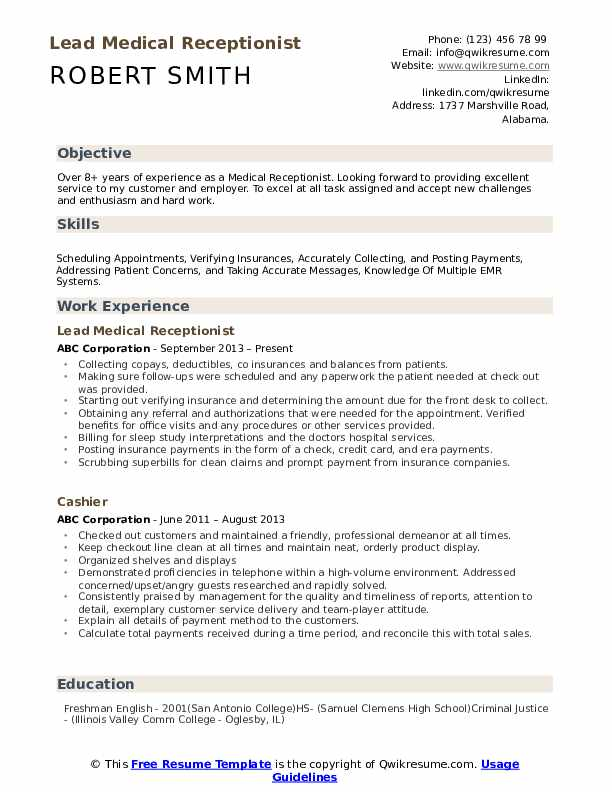 medical receptionist resume samples qwikresume job objective for pdf unl contact center Resume Receptionist Job Objective For Resume