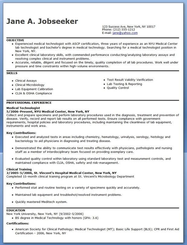 medical technologist resume example downloads marketing assistant examples sample for Resume Sample Resume For Medical Technologist