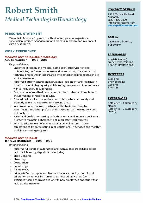 medical technologist resume samples qwikresume senior pdf address on or not examples with Resume Senior Medical Technologist Resume