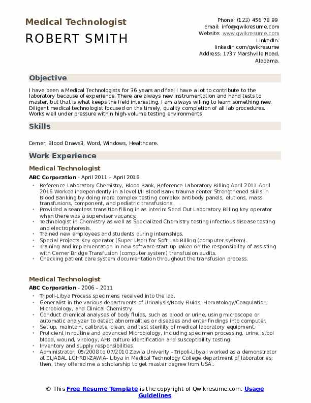 medical technologist resume samples qwikresume senior pdf address on or not sample email Resume Senior Medical Technologist Resume