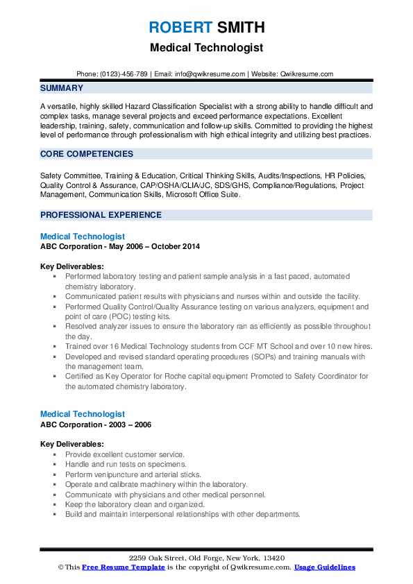 medical technologist resume samples qwikresume senior pdf career change example logistics Resume Senior Medical Technologist Resume