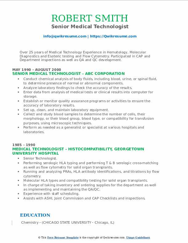 medical technologist resume samples qwikresume senior pdf free templates ats friendly non Resume Senior Medical Technologist Resume