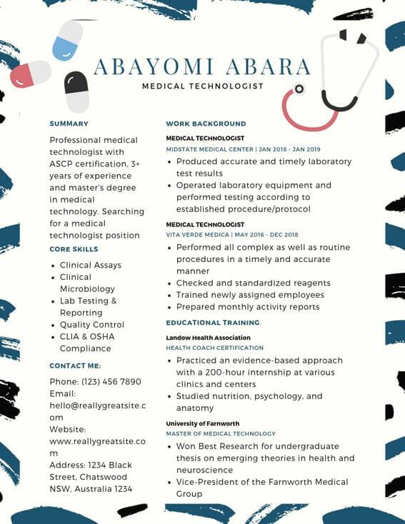 medical technologist resume samples templates pdf word resumes bot sample for example Resume Sample Resume For Medical Technologist