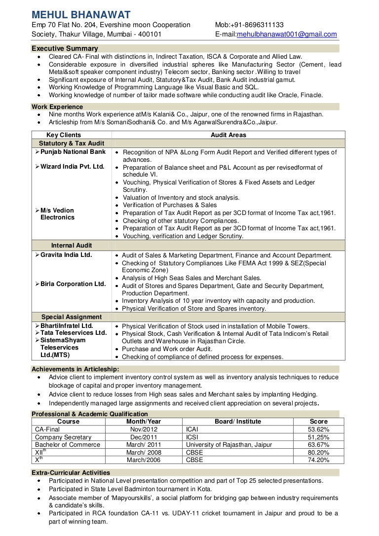 mehul bhanawat resume of experienced chartered accountant camehulbhanawatresume phpapp01 Resume Resume Of Experienced Chartered Accountant