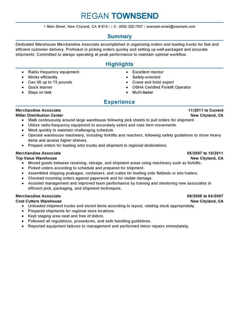 merchandise associate resume example resumes livecareer business operations production Resume Business Operations Associate Resume