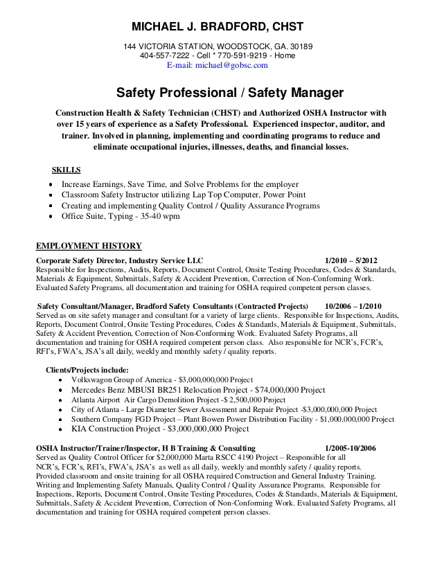 michael chst ahsm safety professional resume experience retail customer service Resume Safety Experience Resume