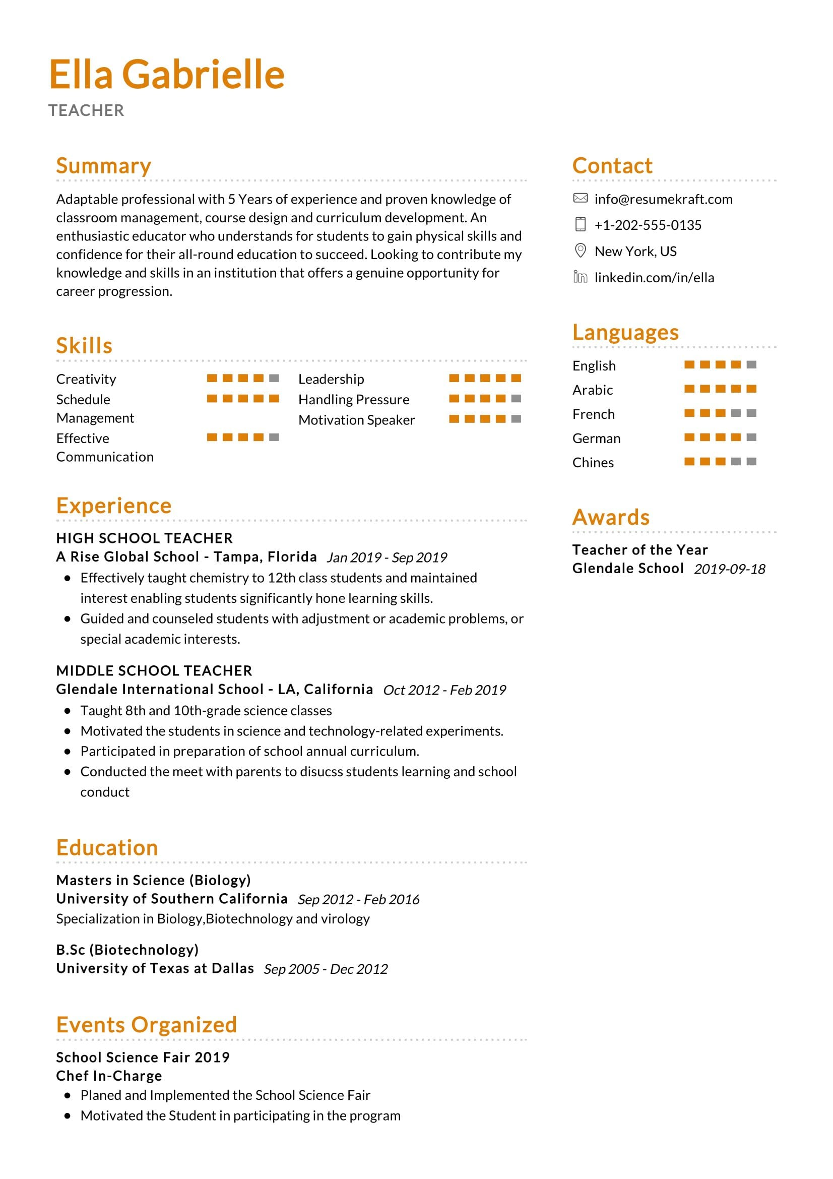 middle school teacher resume sample resumekraft skills for science strong summary Resume Skills For Science Teacher Resume