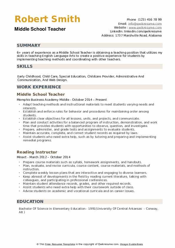 middle school teacher resume samples qwikresume elementary template pdf cara buat dalam Resume Elementary School Teacher Resume Template