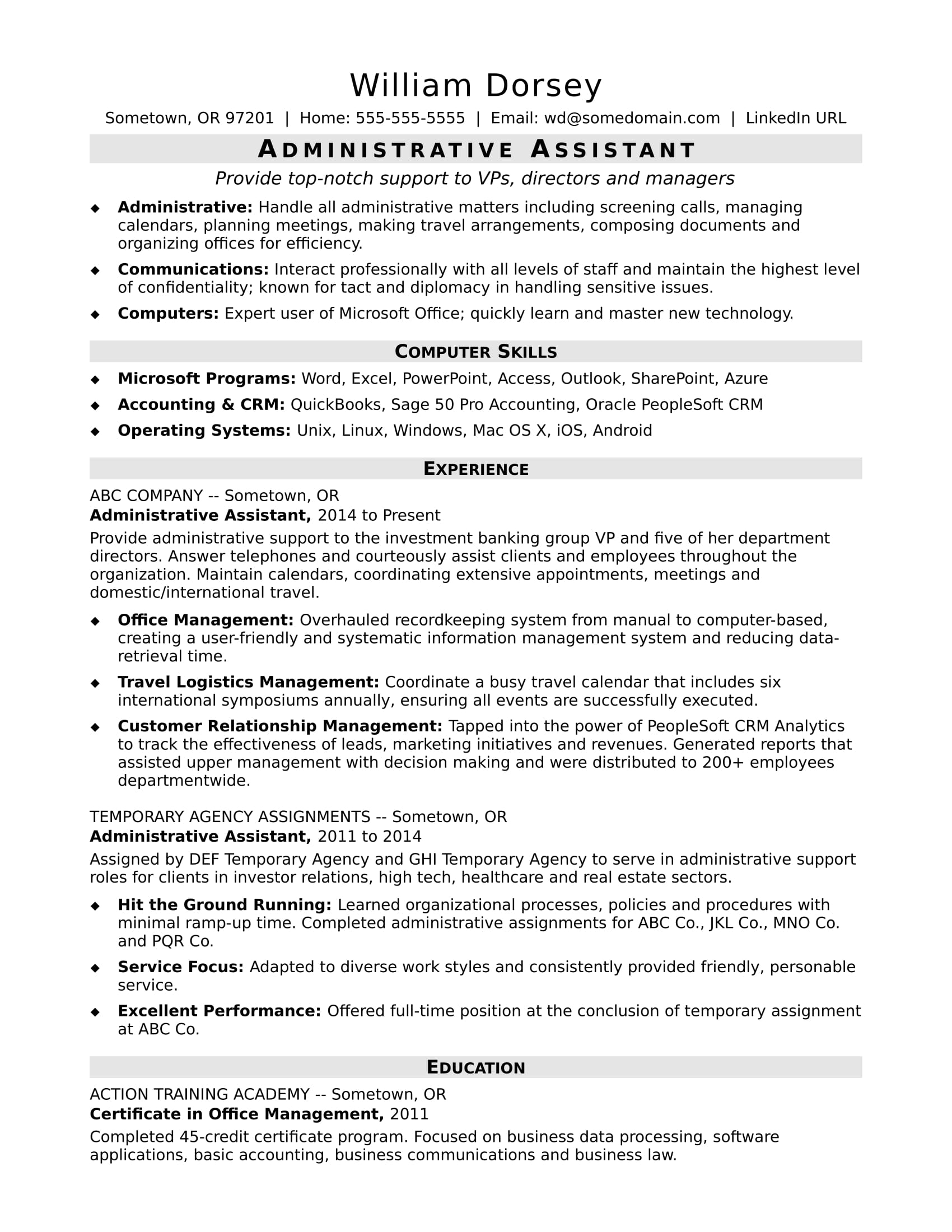midlevel administrative assistant resume sample monster professional accounting Resume Administrative Professional Resume