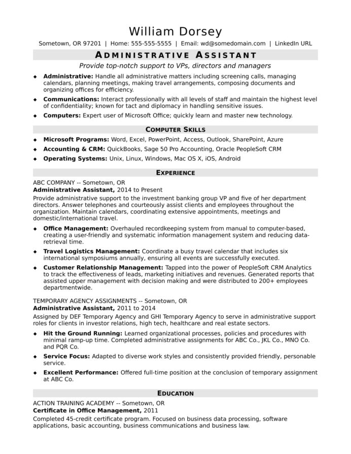 midlevel administrative assistant resume sample monster specialist good examples for Resume Administrative Specialist Resume Sample