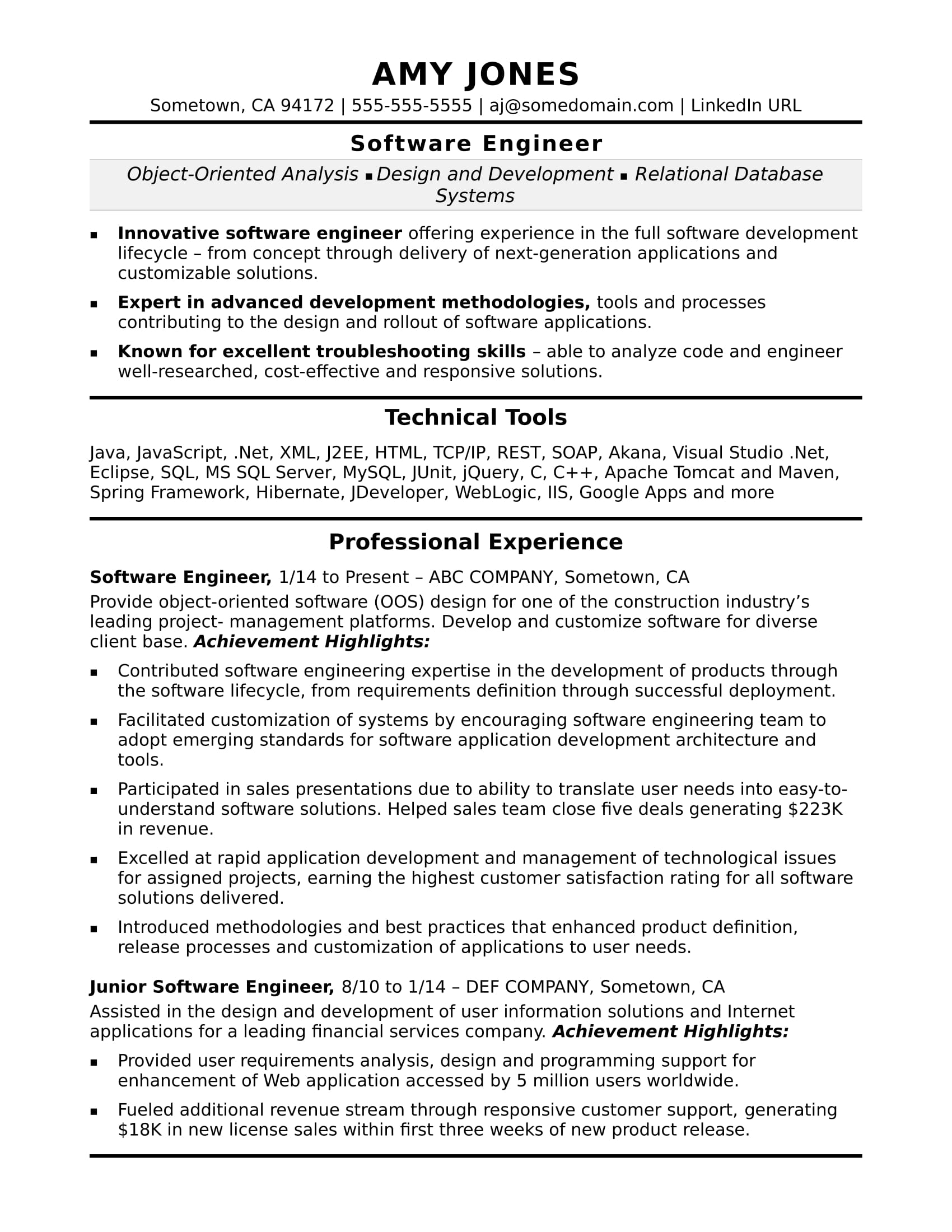 midlevel software engineer sample resume monster developer format skills for general Resume Software Developer Resume Format