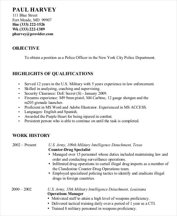 military resume free word pdf documents premium templates objective police rural carrier Resume Military Resume Objective