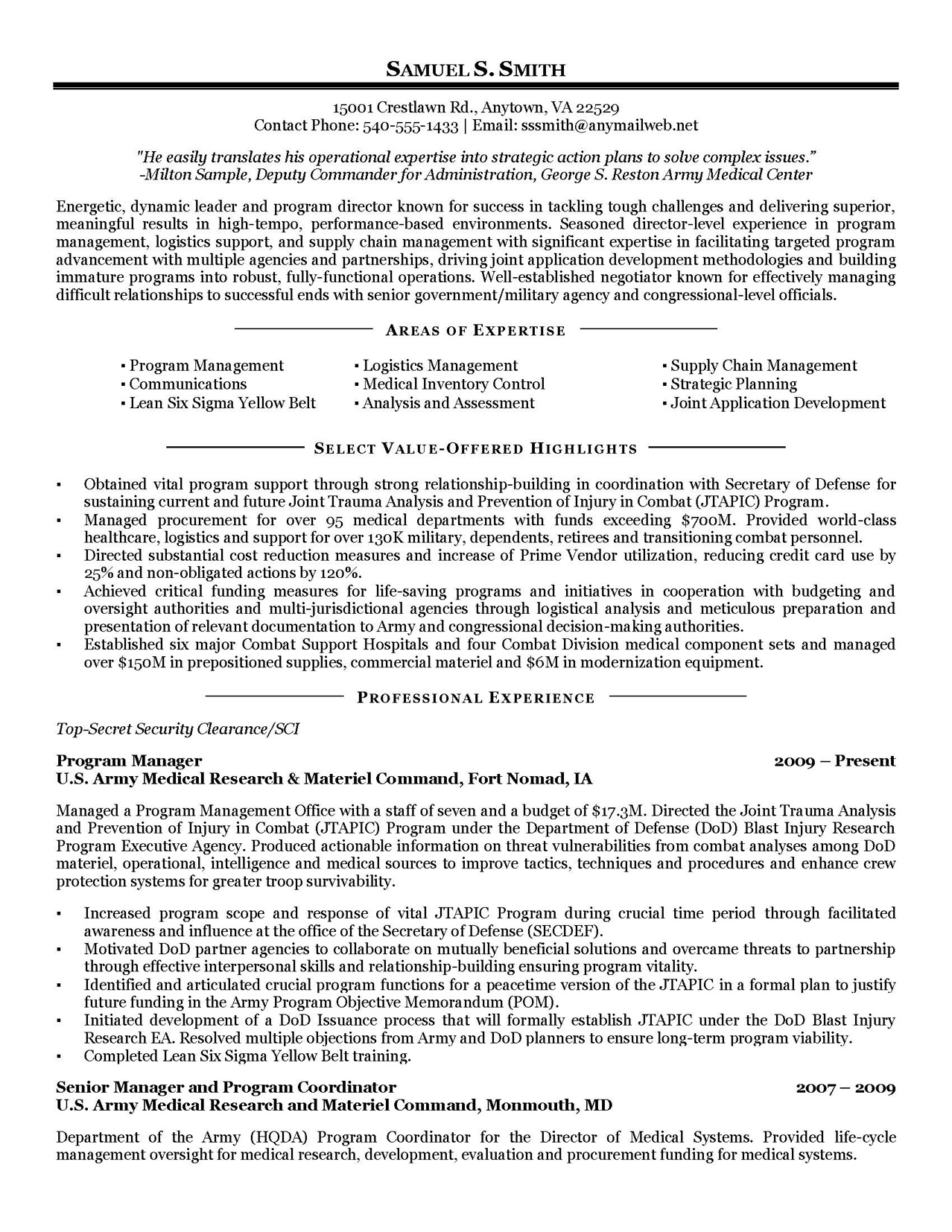 military resume samples examples writers executive core qualifications transition Resume Executive Core Qualifications Resume