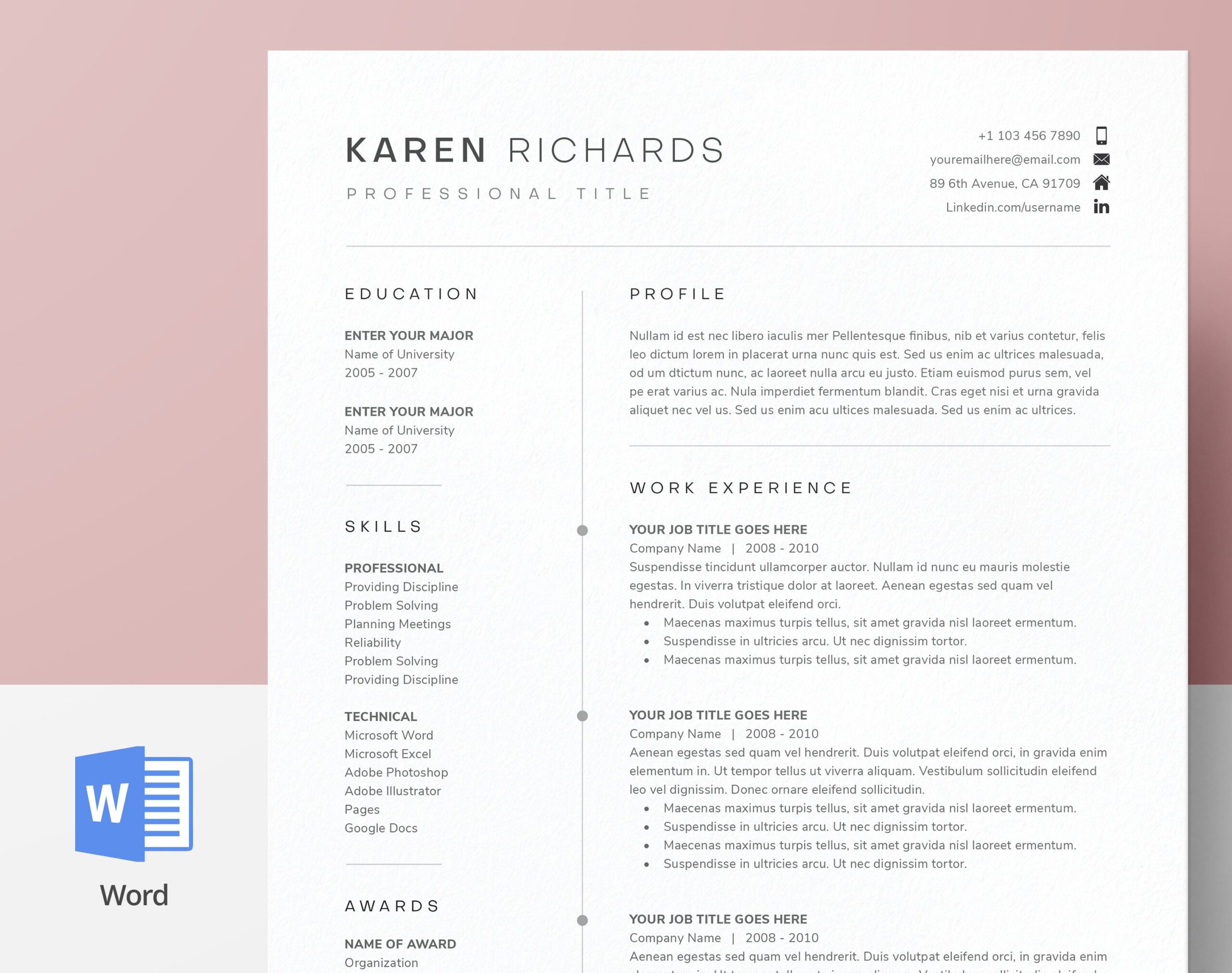 modern clean one resume template cv cover etsy microsoft word skills format picker Resume Microsoft Word One Page Resume Template