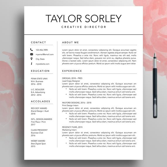 modern resume cv template minimalist simple etsy il 570xn gy0d word district manager job Resume Modern Simple Resume Template
