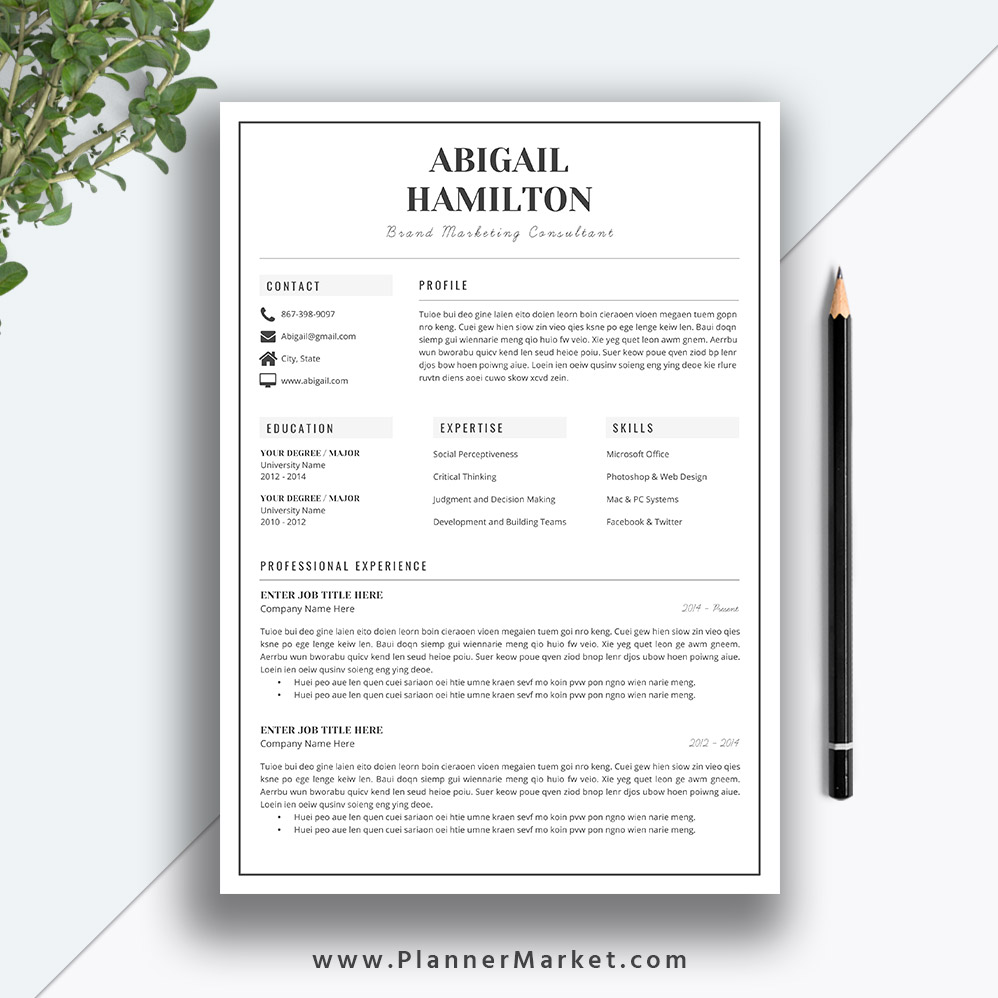 modern resume template simple cv professional design cover letter ms word instant the Resume Modern Simple Resume Template