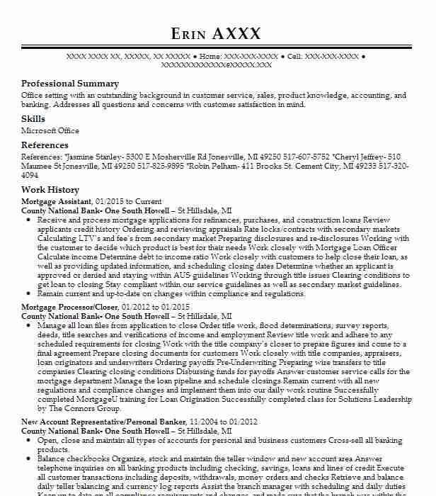 mortgage assistant resume example resumes livecareer loan sample content strategist free Resume Loan Assistant Resume Sample